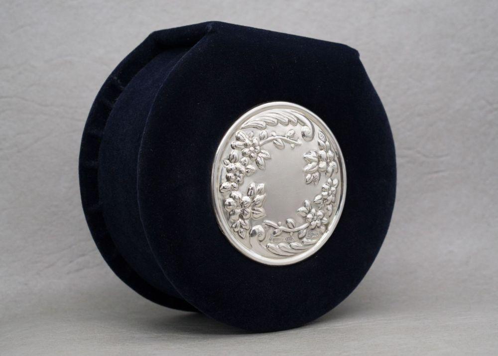 Italian dark blue velvet trinket box with embossed floral sterling silver lid decoration