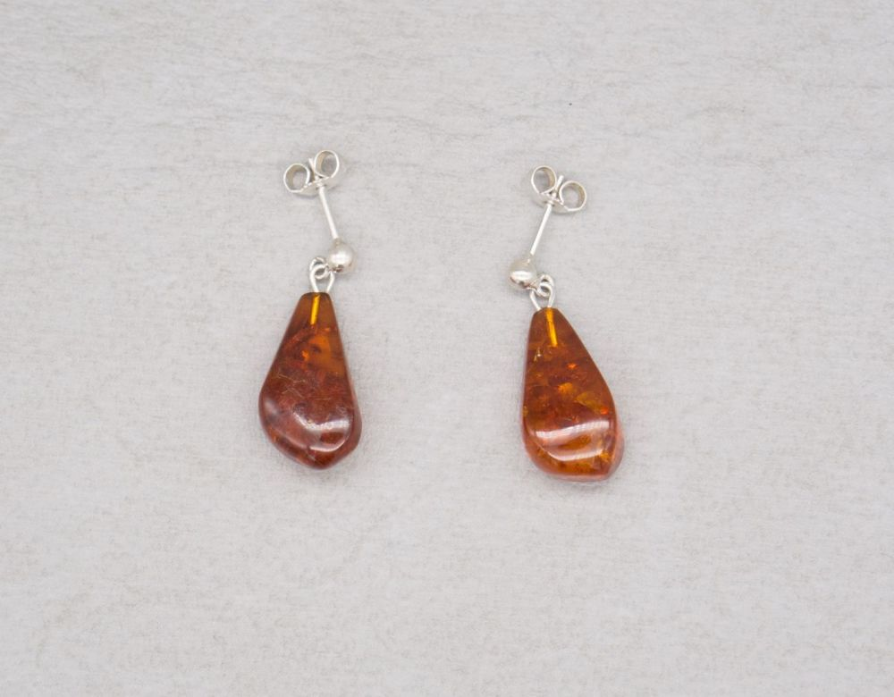 Sterling silver & amber earrings