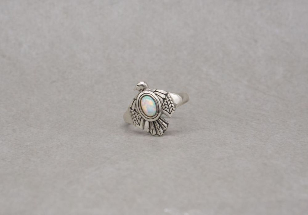 South western style sterling silver & imitation opal eagle / bird ring