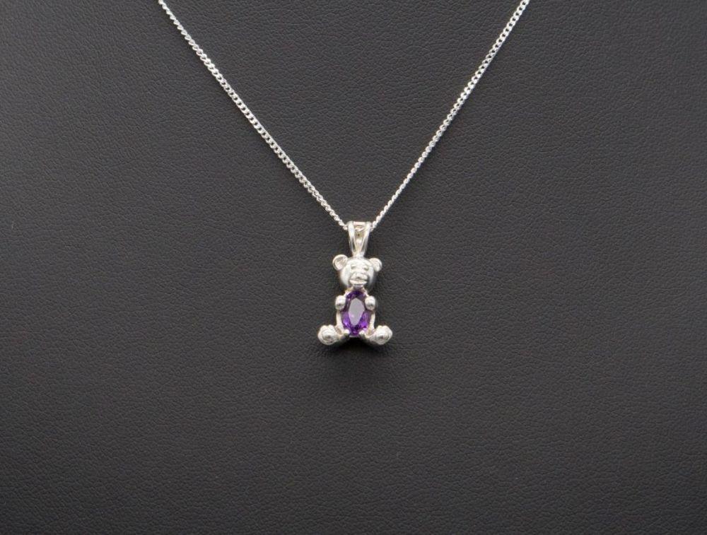 Sterling silver & amethyst teddy bear necklace