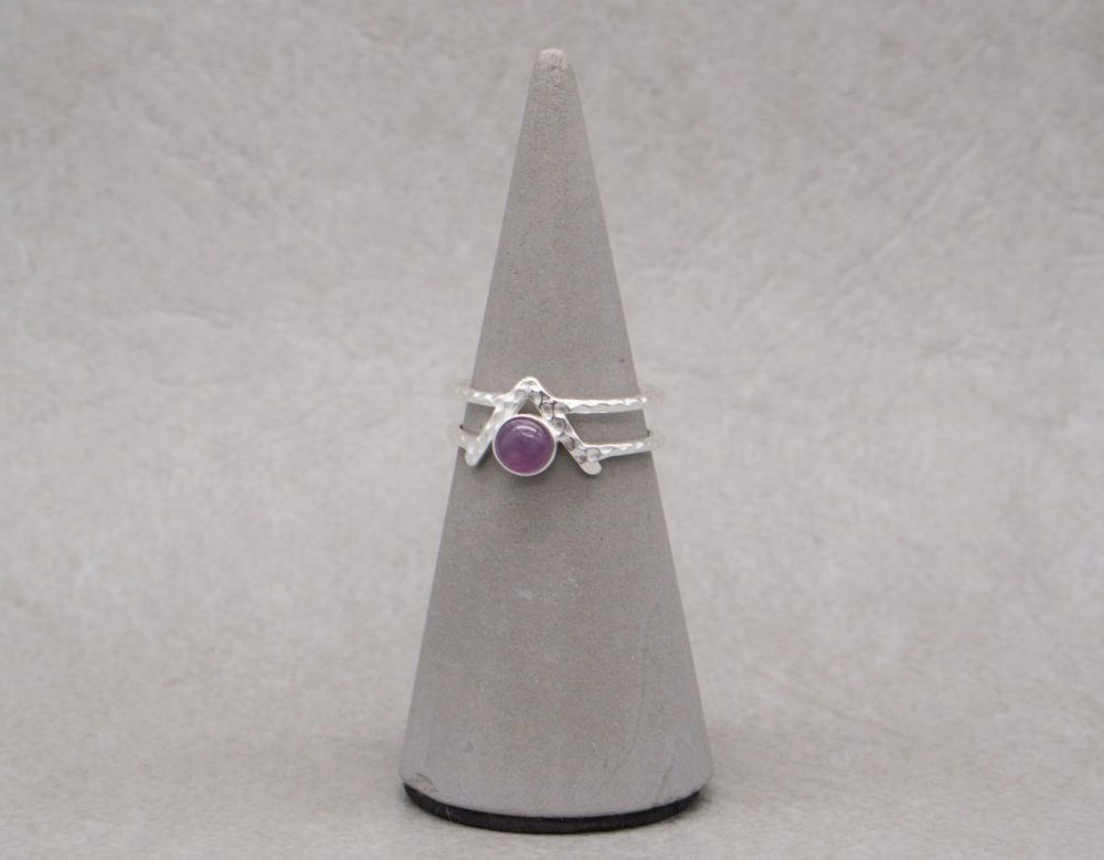 Hammered sterling silver & amethyst ring