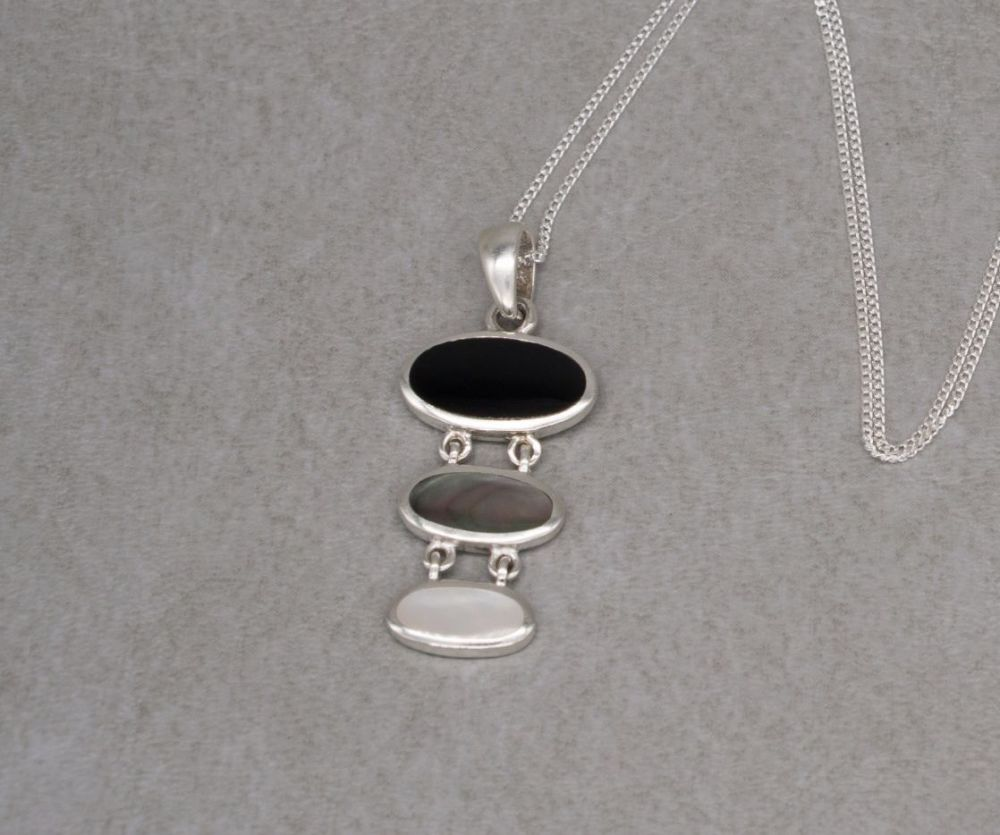 Sterling silver, black onyx, abalone & mother of pearl necklace