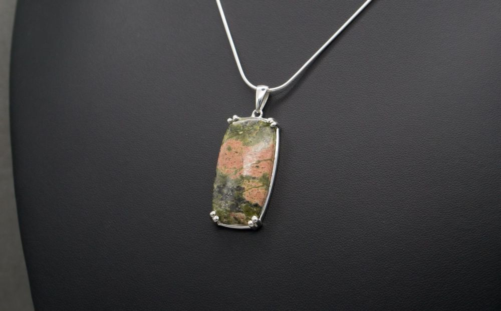 Sterling silver & unakite necklace