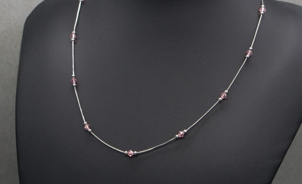 Dainty Italian sterling silver & pink crystal necklace