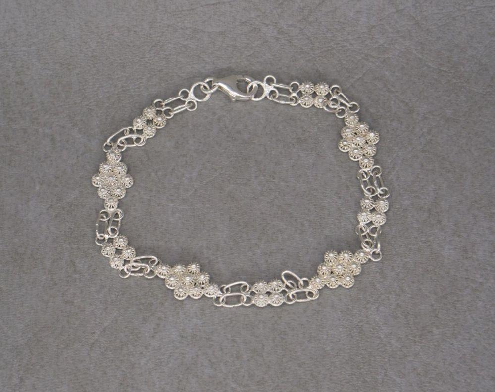 Dainty Italian sterling silver filigree cluster bracelet
