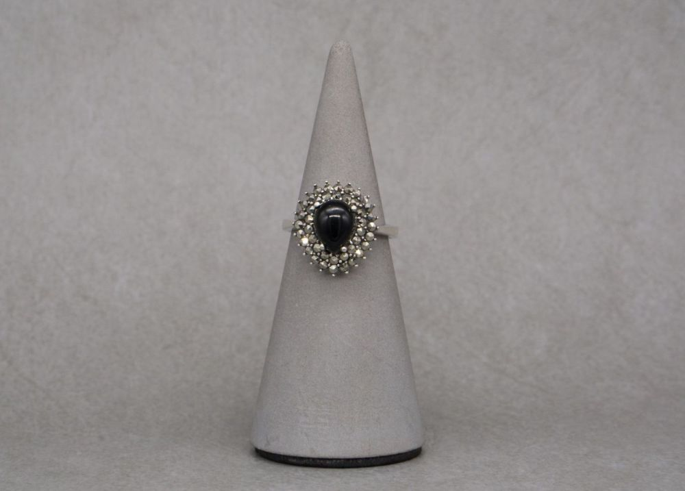 Sterling silver, marcasite & black stone ring