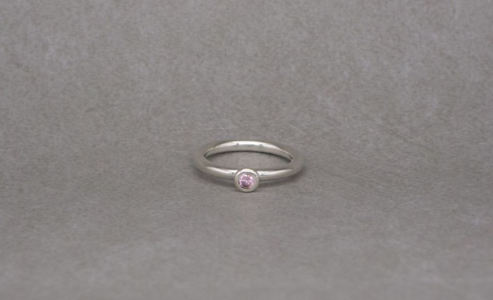 Handmade sterling silver & pink solitaire ring