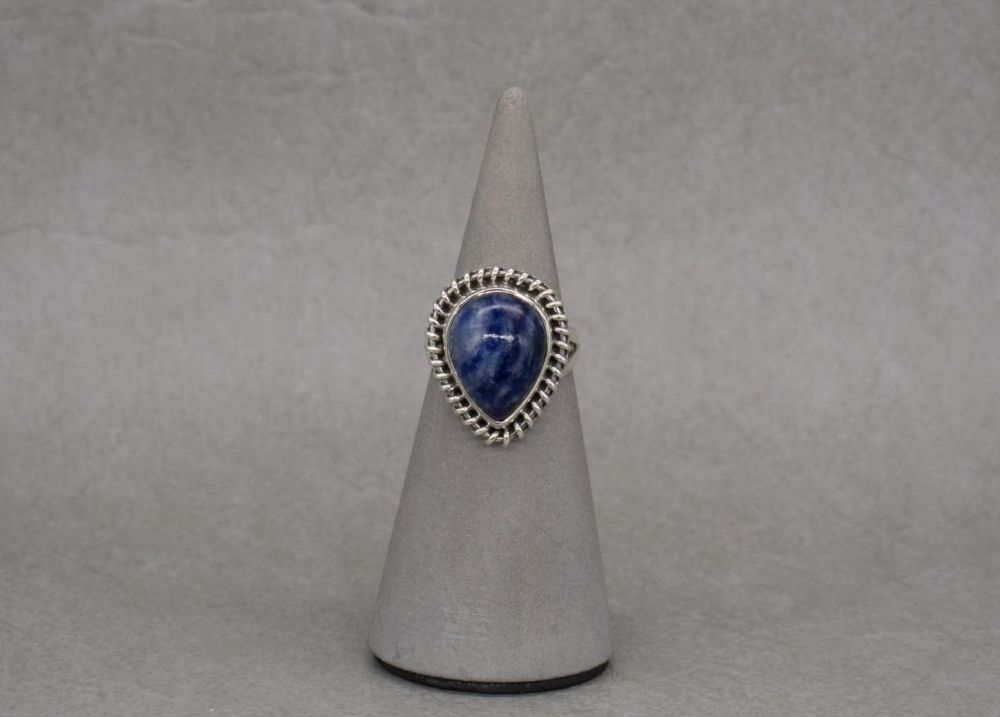 Sterling silver & sodalite ring with a twist effect frame