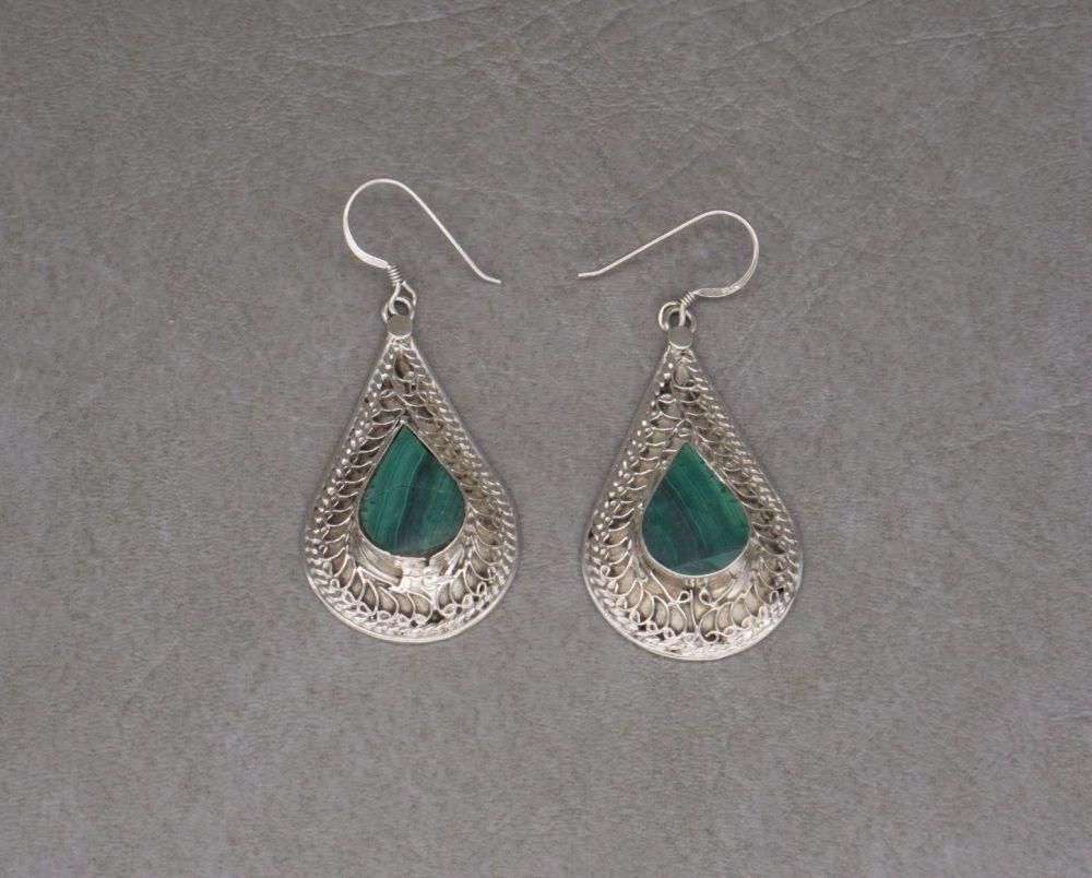 Large fancy sterling silver & malachite teardrop earrings