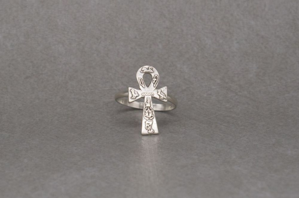 Egyptian 800 silver Ankh ring