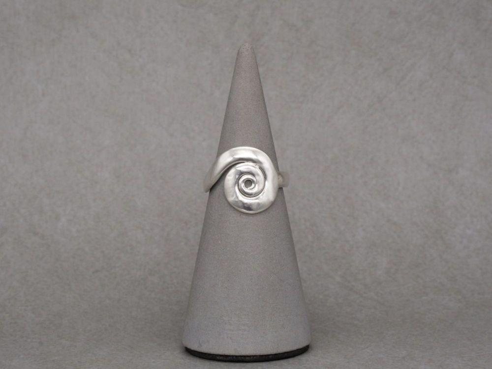 Handmade sterling silver swirl ring