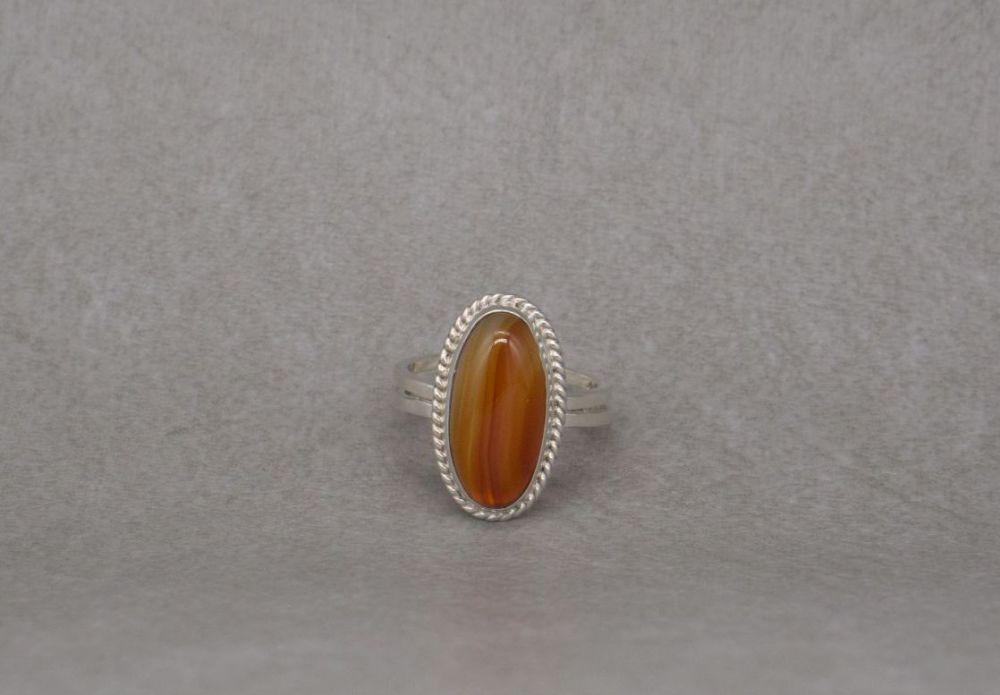 Vintage sterling silver & orange striped / banded agate ring