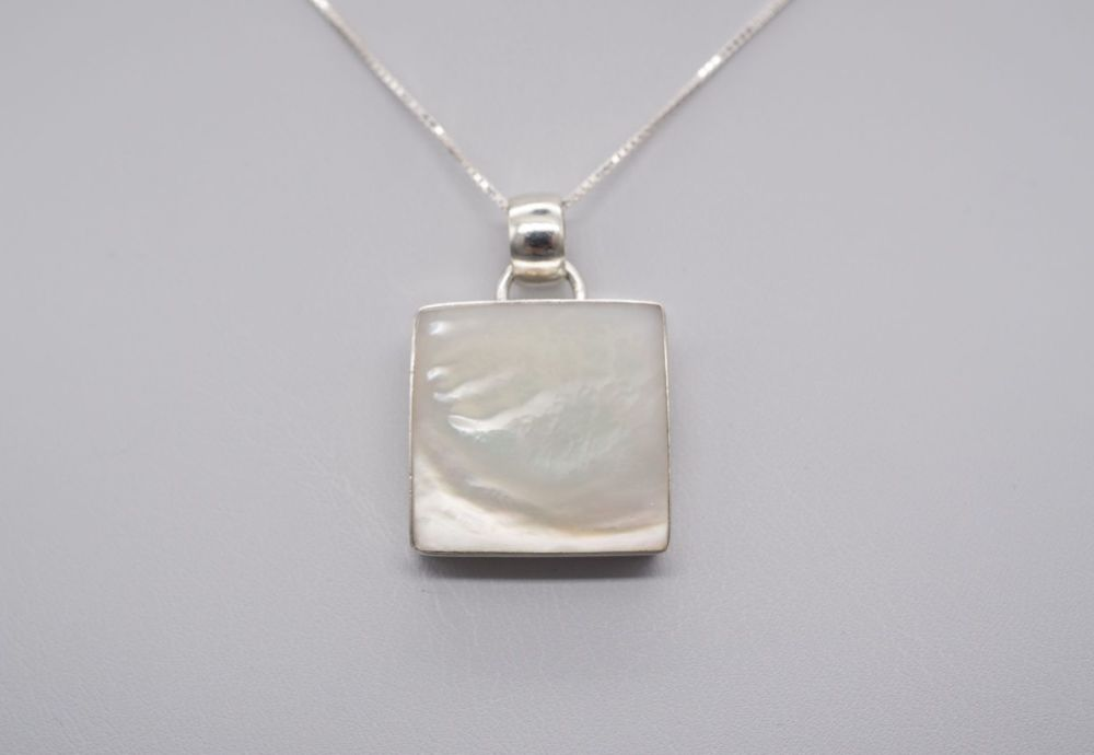 Square sterling silver & mother of pearl necklace