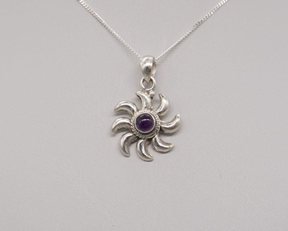 Sterling silver & amethyst sun necklace