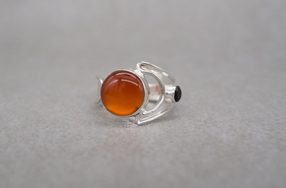 Sterling silver, fire agate & black onyx ring