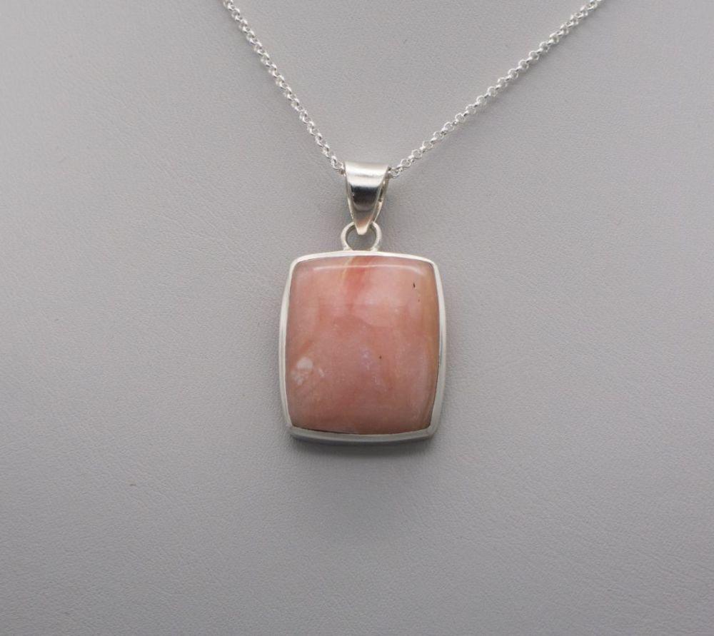 Sterling silver & rhodochrosite necklace
