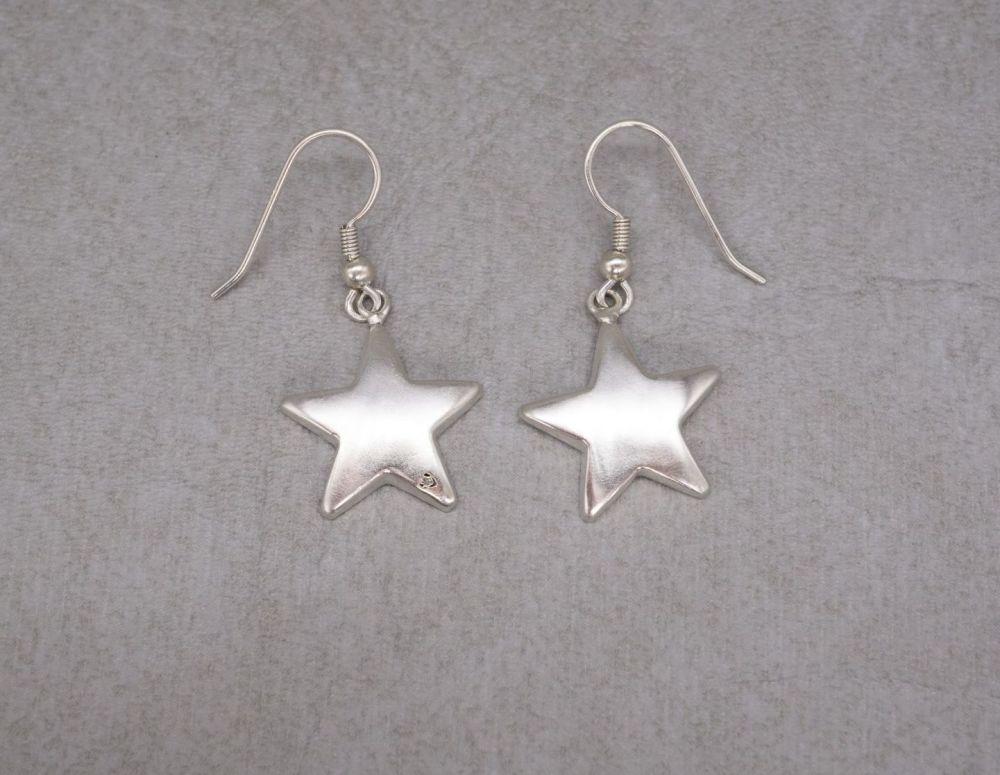 Sterling silver puffy star earrings