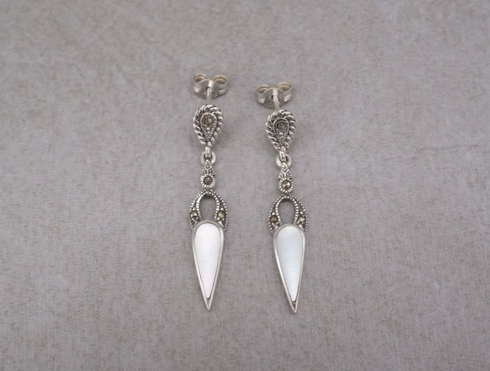 Sterling silver, marcasite & mother of pearl dropper earrings