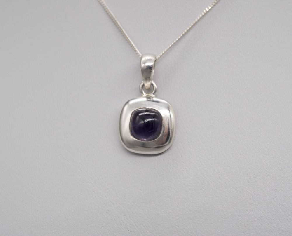 Small square sterling silver & amethyst necklace
