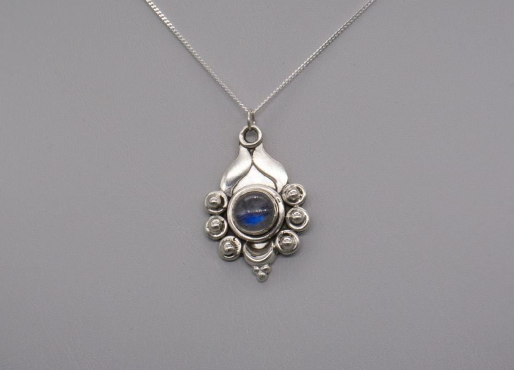 Fancy sterling silver & moonstone necklace
