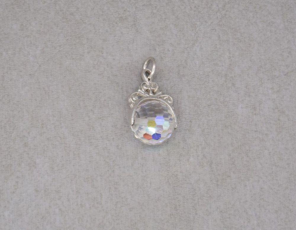 Vintage silver & aurora borealis crystal charm