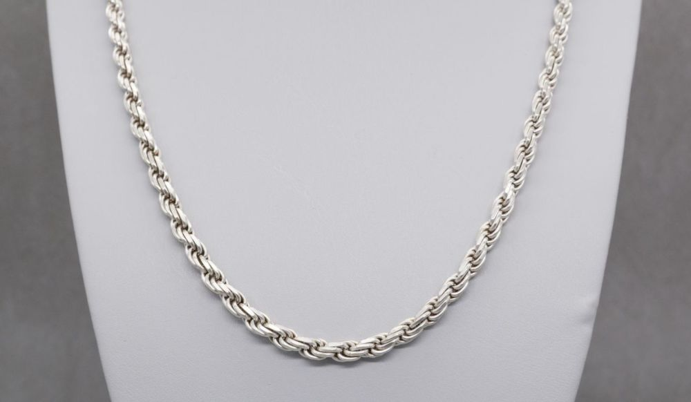 "Heavy Italian sterling silver rope chain (30"", 5mm)"
