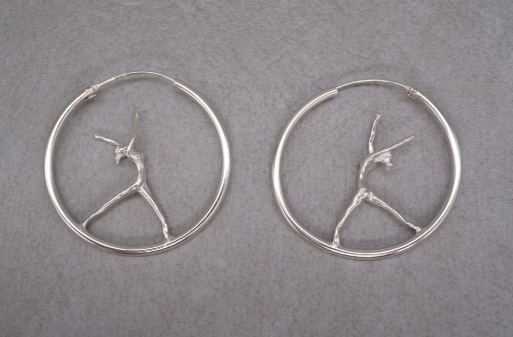 Unusual sterling silver dancer / gymnast hoop earrings