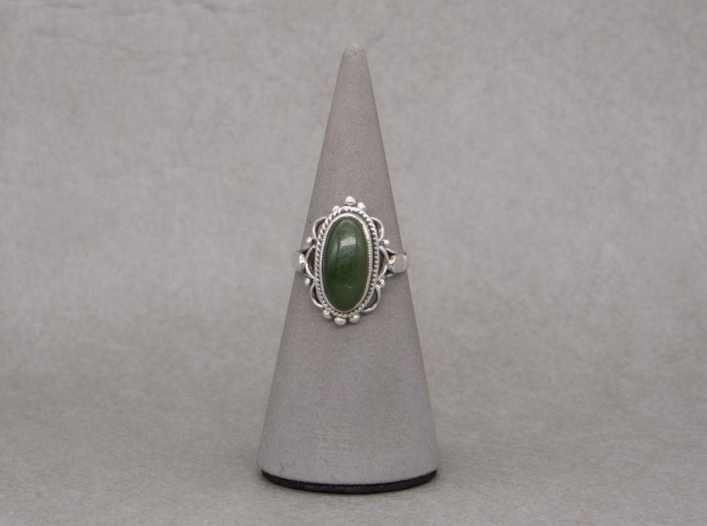 Fancy sterling silver & green stone ring