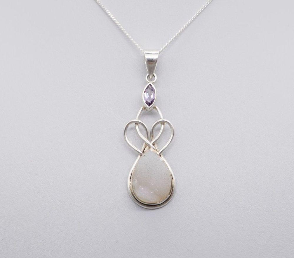 Sterling silver, amethyst & druzy quartz necklace