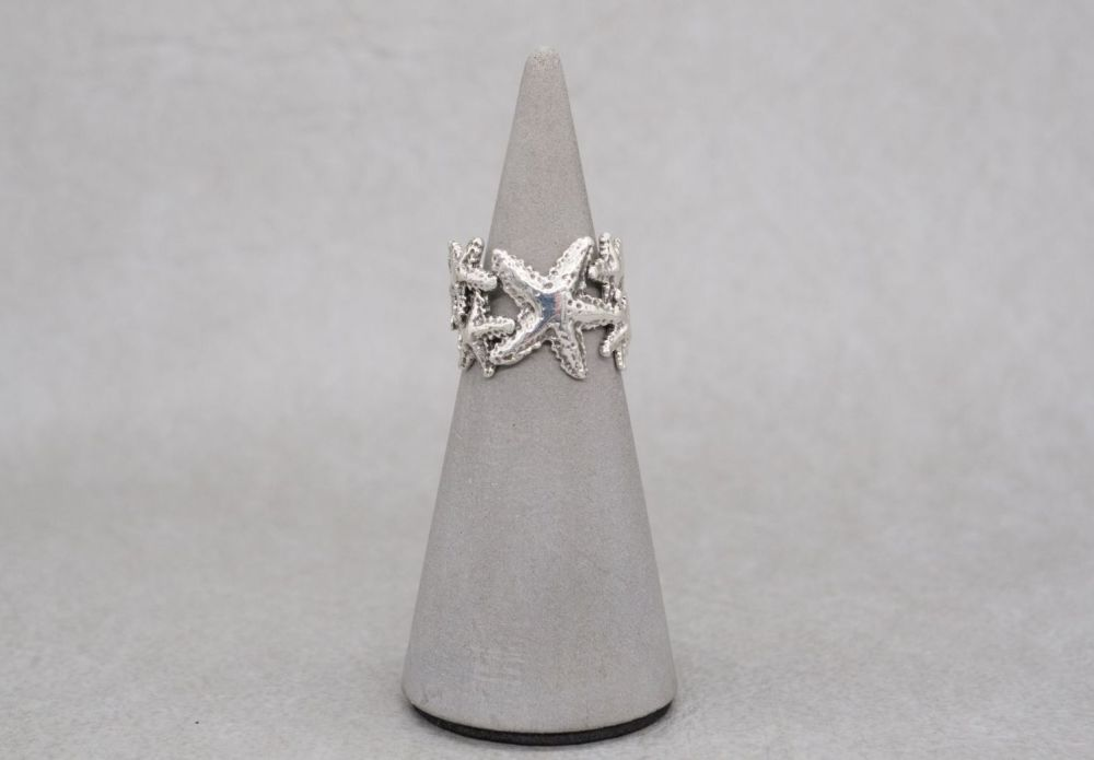 Wide sterling silver starfish ring