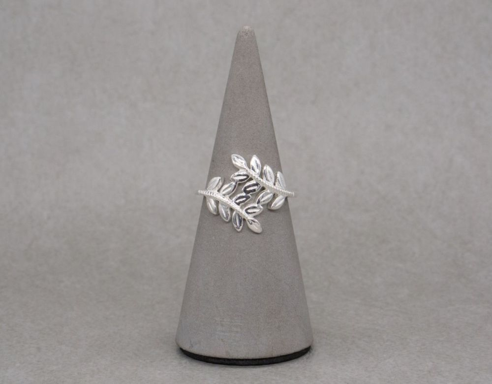 Sterling silver leaf bypass ring