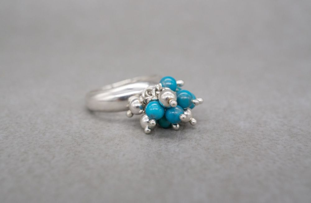Italian sterling silver & turquoise bead cluster ring