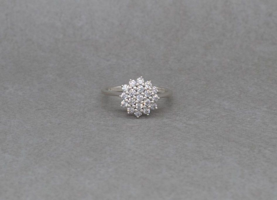 Classic sterling silver cluster ring with clear stones
