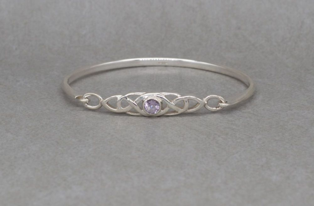 Sterling silver Celtic bangle set with amethyst