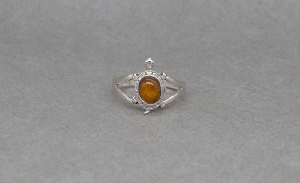 Sterling silver & amber turtle / tortoise ring