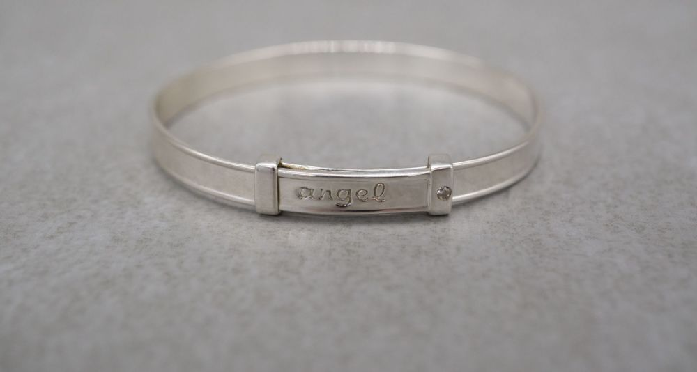 Sterling silver 'angel' Christening bangle