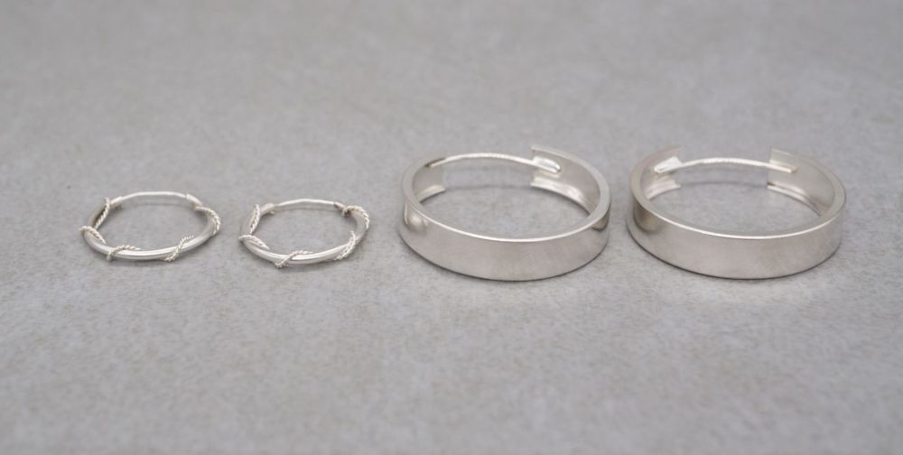 2 x pairs of sterling silver hoop earrings