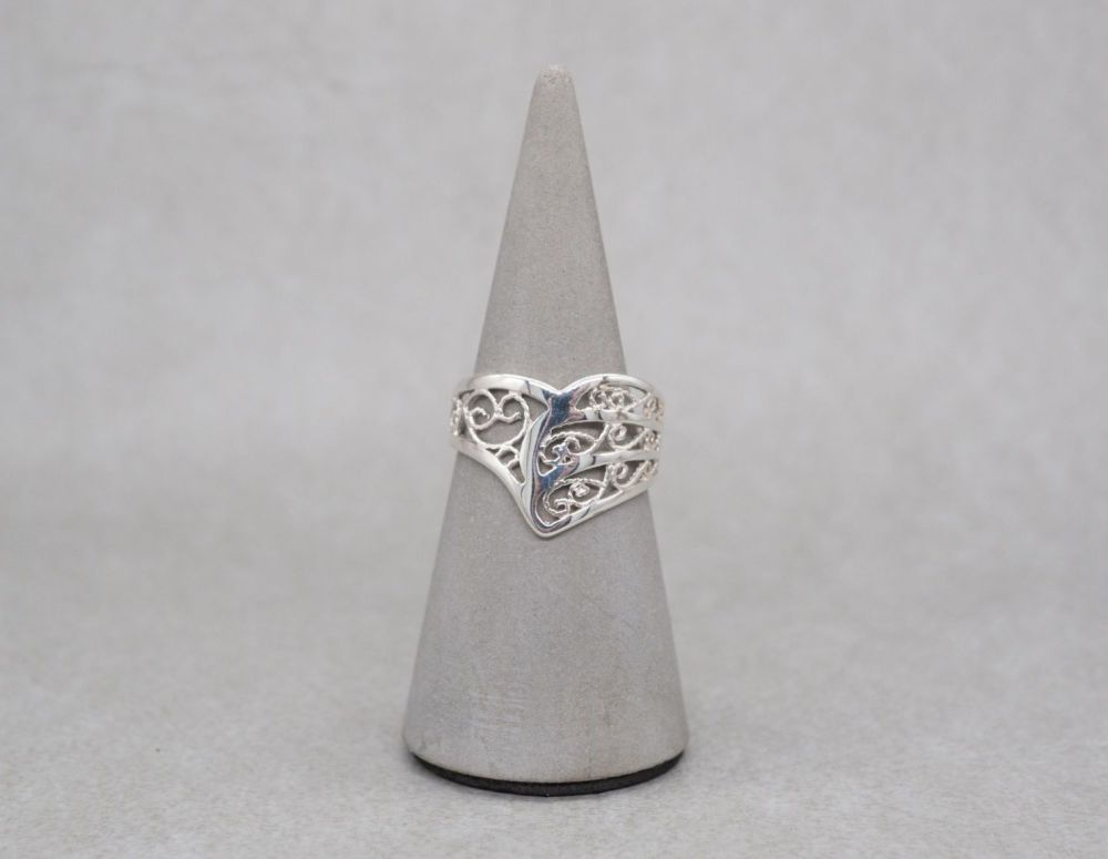 Asymmetric sterling silver wishbone ring with filigree detail