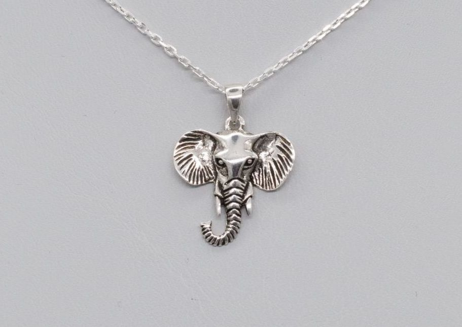 Sterling silver elephant head necklace