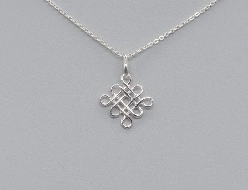 Small sterling silver celtic knot necklace