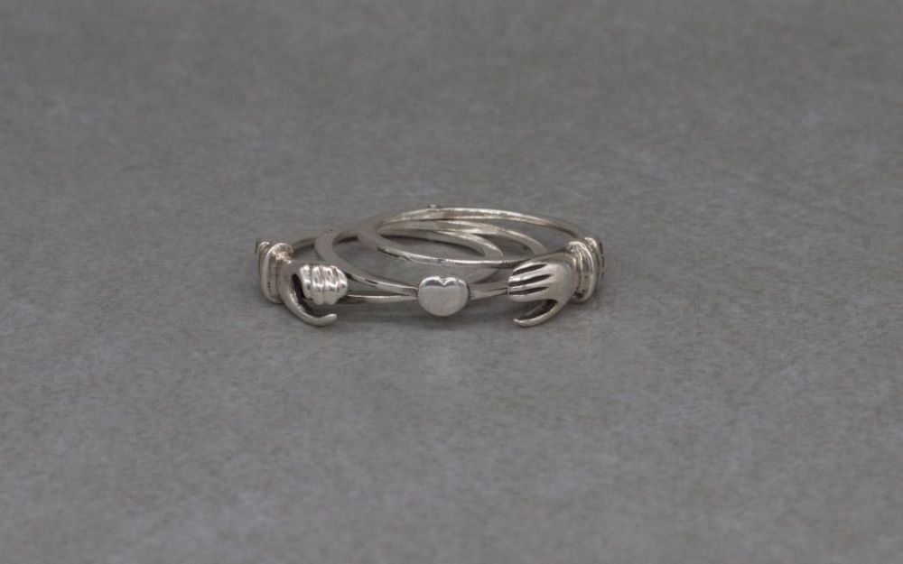 Unusual 3-part, hinged, sterling silver claddagh ring