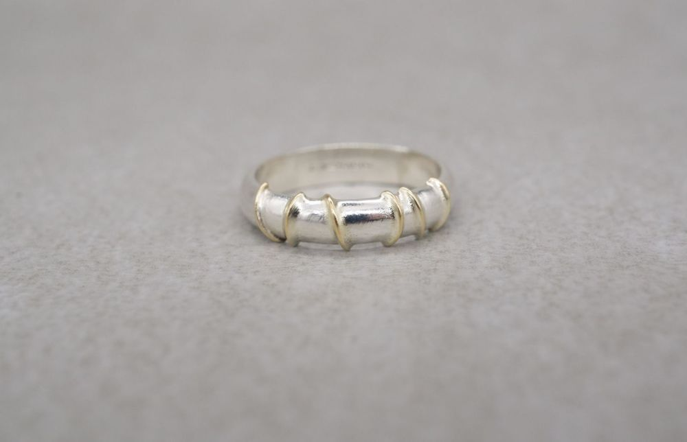 Sterling silver ring with asymmetric golden lines
