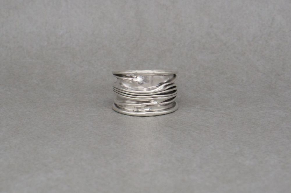 Wide sterling silver ripple / squashed effect ring