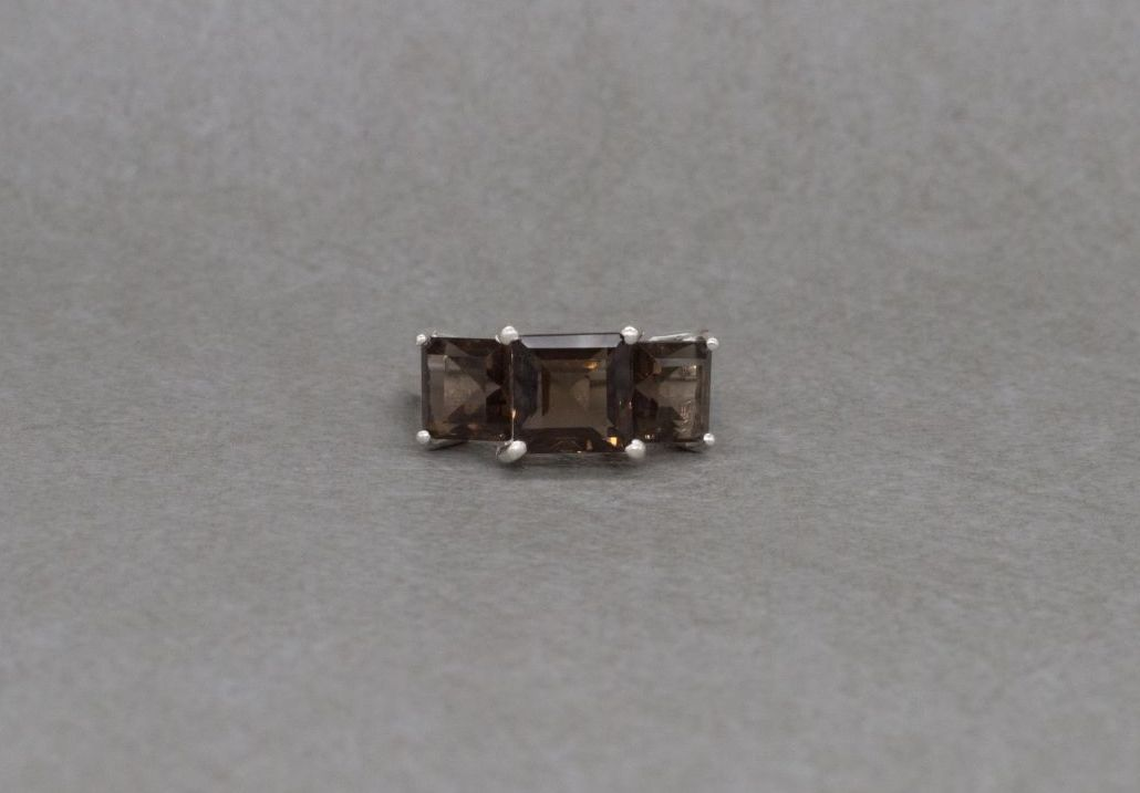 Sterling silver & smokey quartz trilogy ring