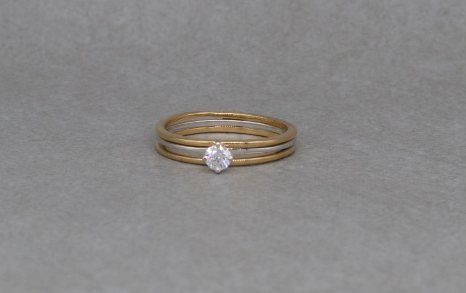 2-piece stacked sterling silver solitaire ring with gilt detail