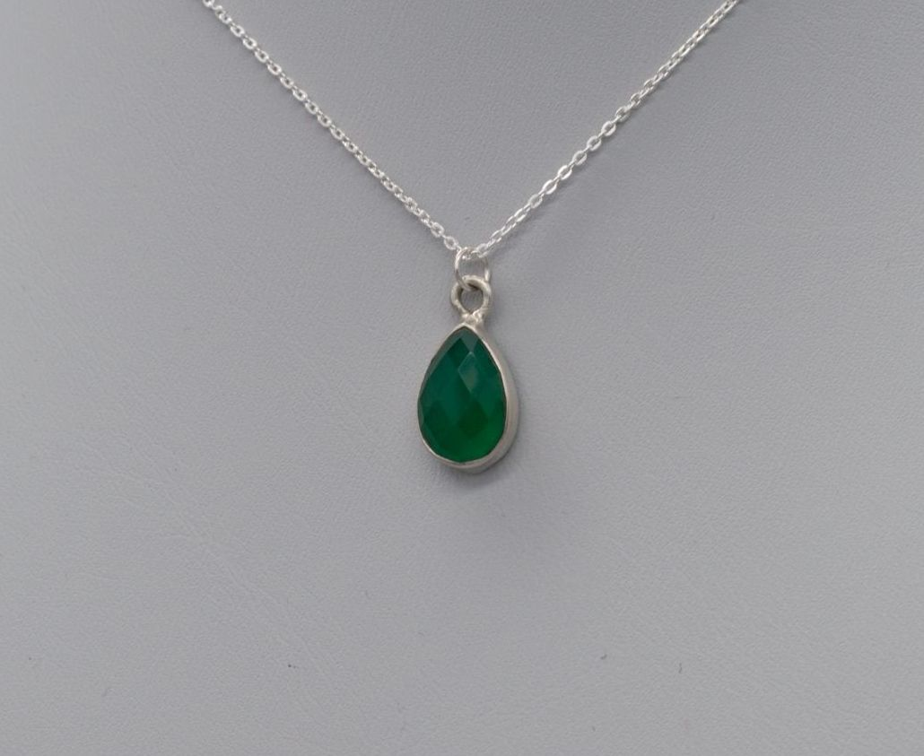 Small sterling silver & faceted green onyx teardrop necklace