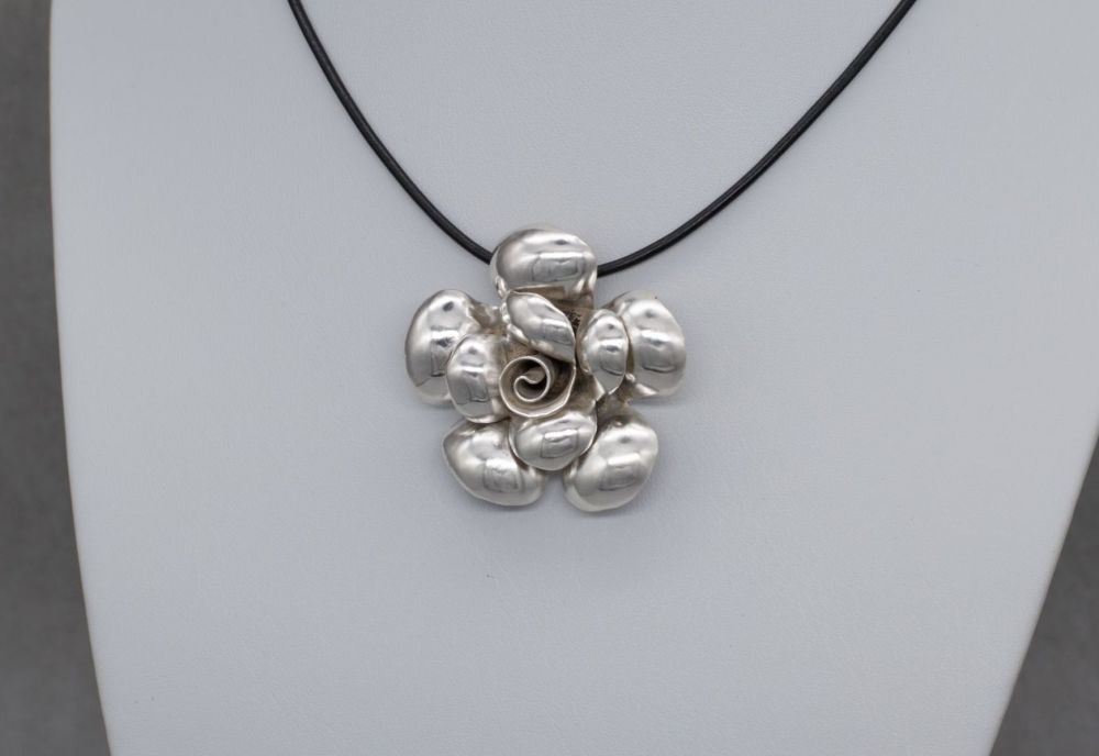 Large sterling silver & black leather cord 3D rose necklace