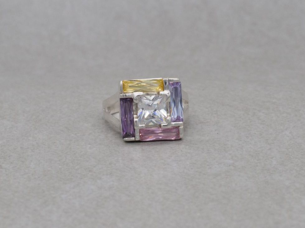 Unusual square sterling silver & multi-colour glass ring