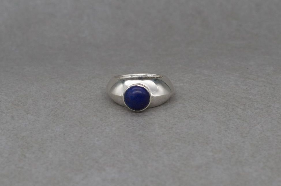 Unusual sterling silver & lapis ring