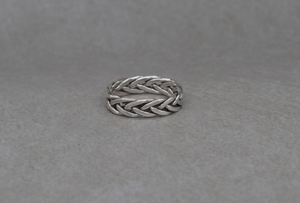 Sterling silver plaited / woven band ring